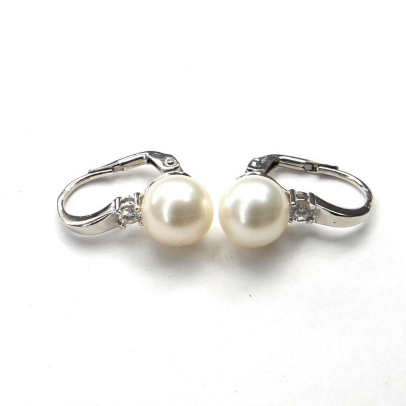 Náušnice z bílého zlata Pattic s mořskými perlami a zirkony AU 585/000 5g, BV501904W