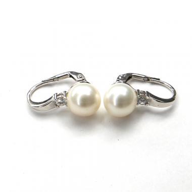 Náušnice z bieleho zlata Pattic s morskými perlami a zirkónmi AU 585/000 5g, BV501904W