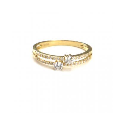 Prsten ze žlutého zlata a zirkony Pattic AU 585/000 1,8gr ARP022501-56
