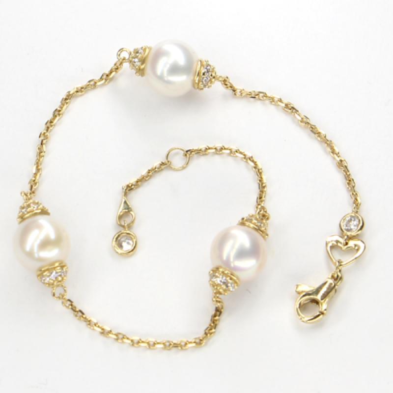 Náramek ze žlutého zlata s perlami a zirkony Pattic AU585/000 5,05g BV600103Y