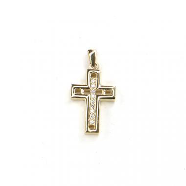 Přívěs ze žlutého zlata kříž se zirkony Pattic AU 585/000 2,85 gr LMG1805Y
