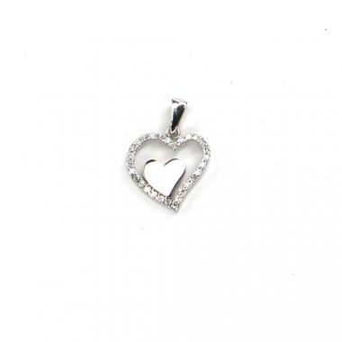 Přívěs z bílého zlata srdce se zirkony Pattic AU 585/000 0,7 gr LMG3705W