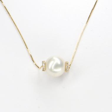 Náhrdelník ze žlutého zlata s perlou a zirkony Pattic AU585/000 3,1g BV504102Y