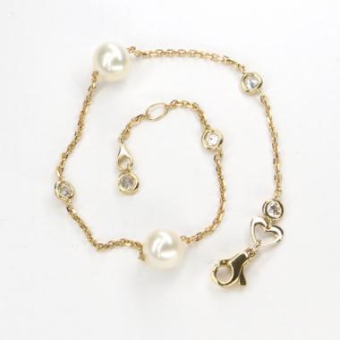 Náramek ze žlutého zlata s perlami a zirkony Pattic AU585/000 2,2g BV601303Y