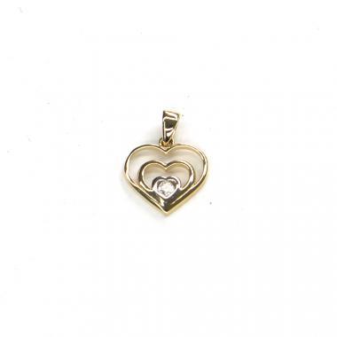 Přívěs ze žlutého zlata srdce se zirkonem PATTIC AU 585/000 1,20 gr ARP236205Y