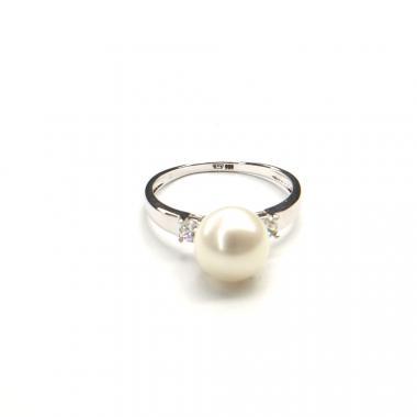 Prsten z bílého zlata s mořskou perlou a zirkony Pattic 3g BV501901W-56