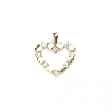 Přívěs ze žlutého zlata srdce se zirkony Pattic AU 585/000 1,6 gr LMG2705Y
