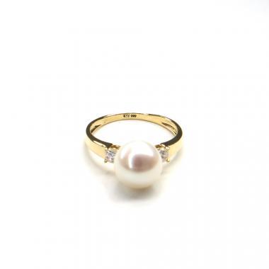 Prsten ze žlutého zlata, mořskou perlou a zirkony Pattic  AU 585/000 2,9g BV501901Y-53