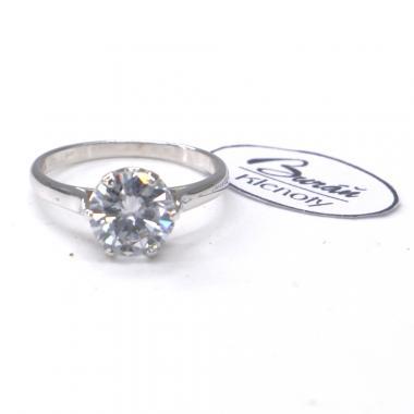 Prsten Pattic z bílého zlata se středovým zirkonem AU 585/000  2,50gr, PR356022801C