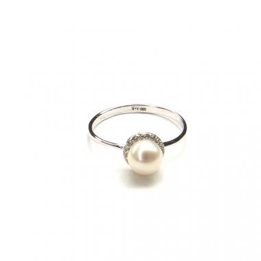 Prsten z bílého zlata s mořskou perlou a zirkony Pattic 1,85g BV500101W-58