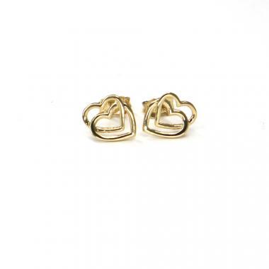 Náušnice ze žlutého zlata srdce Pattic AU 585/000 1,10 gr ARP086804Y