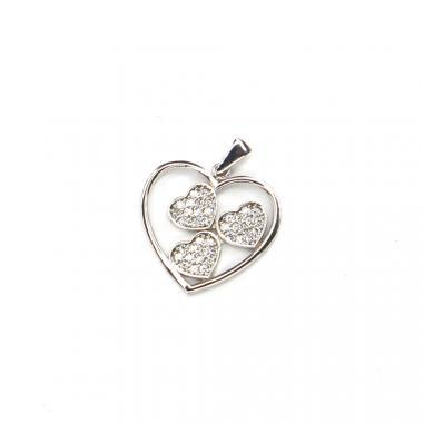 Přívěs z bílého zlata srdce se zirkony Pattic AU 585/000 1,45 g LMG4905W