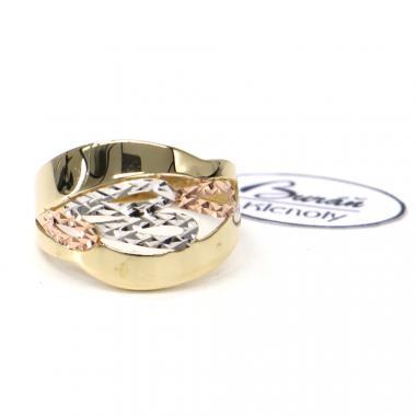 Prsten z tříbarevného zlata Pattic AU 585/000 2,45 gr, PR111416901-56