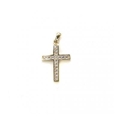 Přívěs ze žlutého zlata křížek se zirkony PATTIC AU 585/000 1,1g BV002205Y