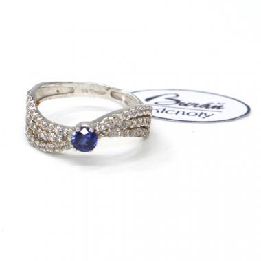Prsten z bílého zlata se středovým synt. safírem a zirkony Pattic AU 585/000 2,35 gr,Z444001