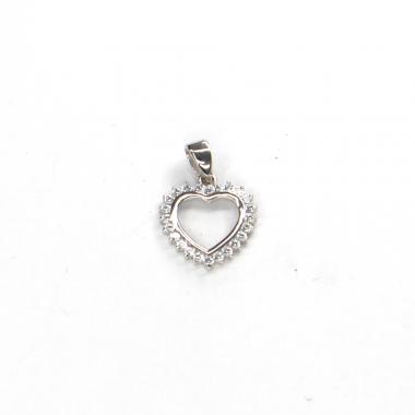 Přívěs z bílého zlata srdce se zirkony Pattic AU 585/000 1,05 gr ARP298505W