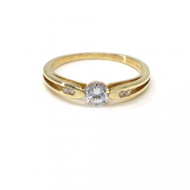 Prsten ze žlutého zlata Pattic AU 585/000 2,70 gr, a zirkony PR521051201