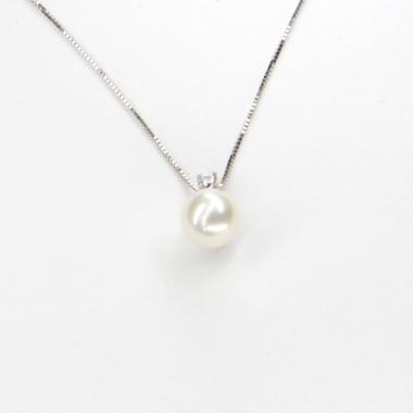 Náhrdelník z bílého zlata s perlou a zirkonem Pattic AU585/000 2,05g BV514902W