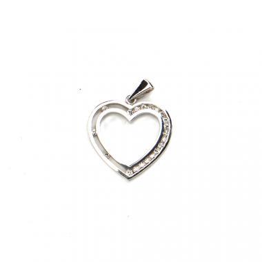 Přívěs z bílého zlata srdce se zirkony Pattic AU 585/000 1,3 gr LMG5005W