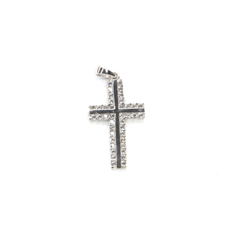 Príves z bieleho zlata kríž so zirkónmi Pattic AU 585/000 1,1g BV000405W