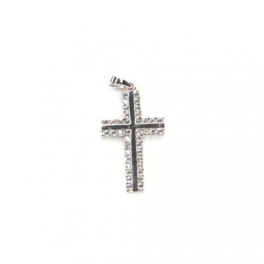 Přívěs z bílého zlata kříž se zirkony Pattic AU 585/000 1,1g BV000405W
