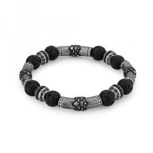 Náramek POLICE Beads Silver Black PEJGB2112401