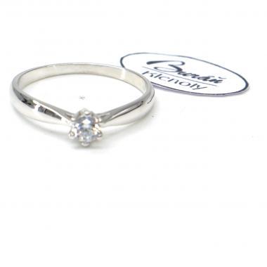 Prsten Pattic z bílého zlata se středovým zirkonem  AU 585/000 2,67 gr, PR686404101-60