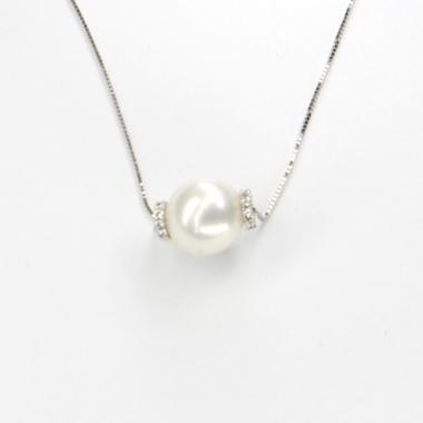 Náhrdelník z bílého zlata s perlou a zirkony Pattic AU585/000 3,05g BV504102W