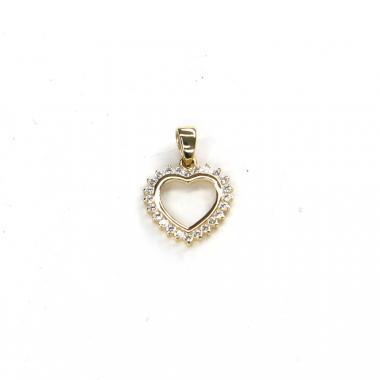 Přívěs ze žlutého zlata srdce se zirkony Pattic AU 585/000 1,05 gr ARP298505Y