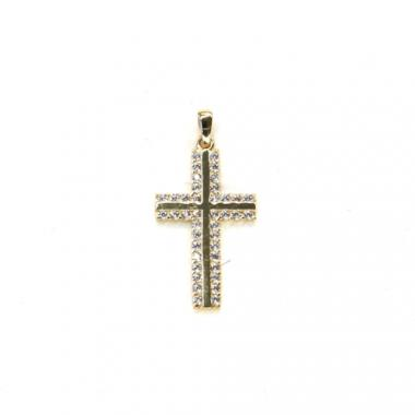 Přívěs ze žlutého zlata křížek se zirkony  PATTIC AU 585/000 1g BV000405Y