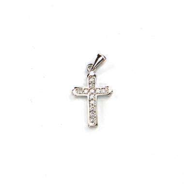 Přívěs z bílého zlata kříž se zirkony Pattic AU 585/000 1,05 gr LMG2205W
