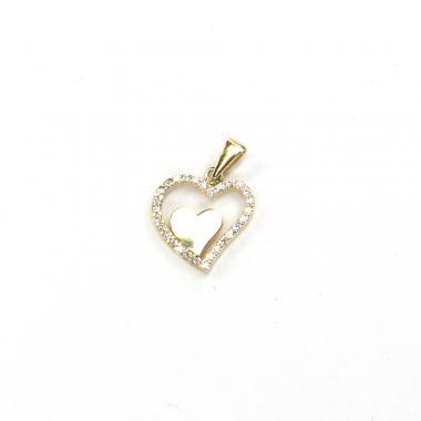 Přívěs ze žlutého zlata srdce se zirkony Pattic AU 585/000 0,7 gr LMG3705Y