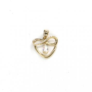 Přívěs ze žlutého zlata srdce se zirkony PATTIC AU 585/000 1,15 gr ARP011405Y