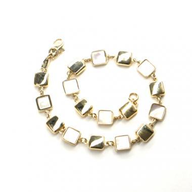 Náramek Pattic ze žlutého zlata s perleťí, AU 585/000 5,4 gr, ARP031103