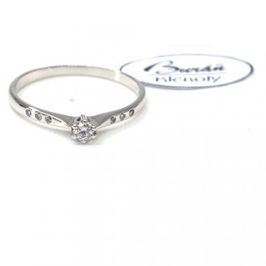 Prsten Pattic z bílého zlata se středovým zirkonem a zirkony AU 585/000 1,55 gr, PR356012001