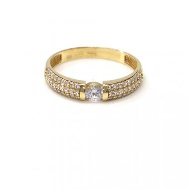 Prsten ze žlutého zlata se středovým zirkonem Pattic AU 585/000 2,42 gr, BA07801