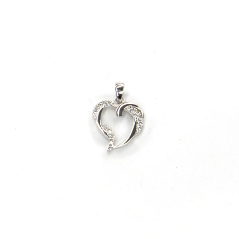 Príves z bieleho zlata srdce so zirkónmi Pattic AU 585/000 0,8g BV0027205W