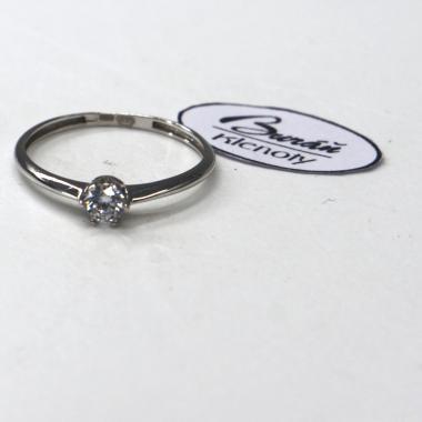 Prsten Pattic z bílého zlata se středovým zirkonem  AU 585/000 0,80 gr, BA08804-53