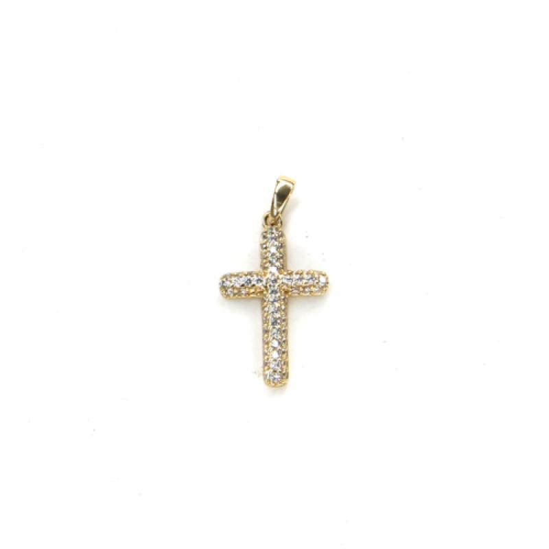 Přívěs ze žlutého zlata křížek se zirkony PATTIC AU 585/000 0,7g BV002305Y