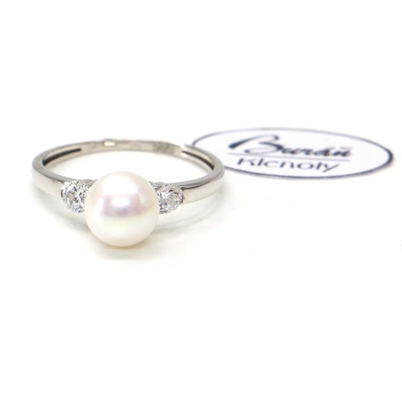 Prsten z bílého zlata se středovou perlou a zirkony Pattic AU 585/000 1,70 gr, PR115410901