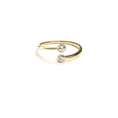 Prsten ze žlutého zlata a zirkony Pattic AU 585/000 1,35 gr, ARP547001-54