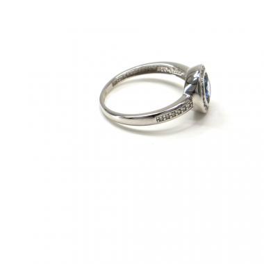 Prsten z bílého zlata Pattic AU 585/000 2,30gr  GU00101 se zirkony a akvamarínem
