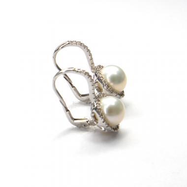 Naušnice z bílého zlata Pattic se zirkony a mořskými perlami AU 585/000 5,85 gr, BV500404W