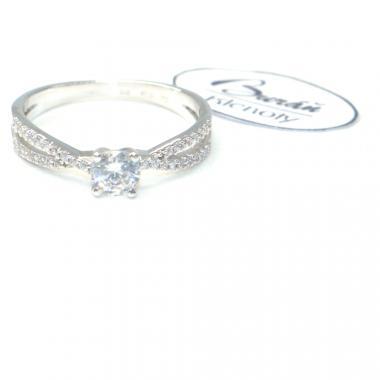 Prsten Pattic z bílého zlata se středovým zirkonem a zirkony AU 585/000 2,50 gr, PR356019301-56