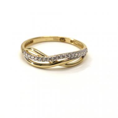 Prsten ze žlutého zlata Pattic AU 585/000 1,30 gr GU00801 se zirkony