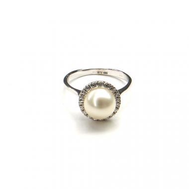 Prsten z bílého zlata s perlou a zirkony Pattic 3,65g BV500401W-54