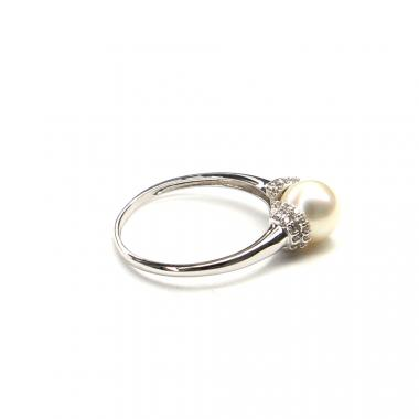Prsten z bílého zlata s mořskou perlou a zirkony Pattic 2,8g BV509101W-60