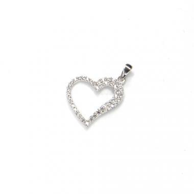 Přívěs z bílého zlata srdce se zirkony Pattic AU 585/000 1g BV030705W