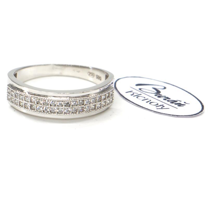 Prsten Pattic z bílého zlata doplněný zirkony AU 585/000, 2,73 gr, BA08401-56