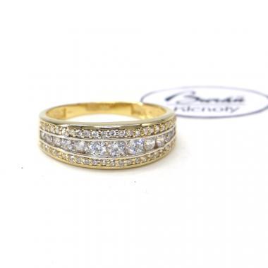 Prsten ze žlutého zlata se středovým zirkonem a zirkony Pattic AU 585/000 2,70 gr,PR111133201